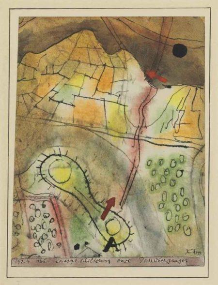 Paul Klee-Knappe Schilderung eines Passuberganges-1924