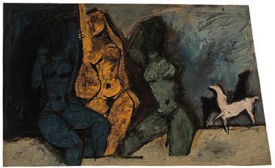 Maqbool Fida Husain-Three Women-1958