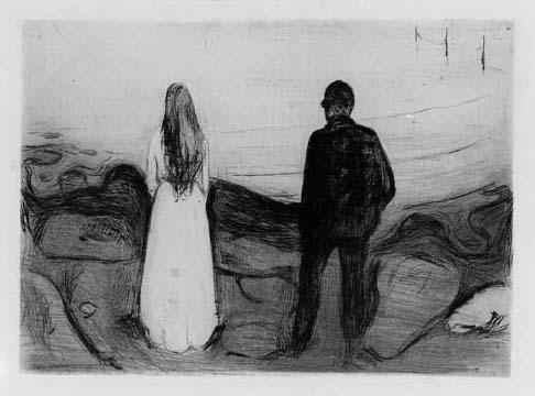 Edvard Munch-The Two Human Beings / The Lonely Ones / Zwei Menschen, Die Einsamen / De ensomme / The Lonely Couple / To mennesker (Sch. 20; W. 13)-1895