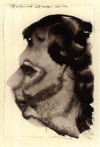 Marlene Dumas-(i) Self Portret met Kater; (ii) Portret van A.M van Kerckhoven-1991