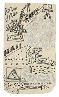 Keith Haring-Keith Haring - Various sketches on a Bank of America money bag-