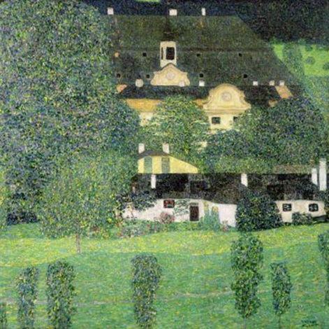 Gustav Klimt-Schloss Kammer am Attersee II-1909