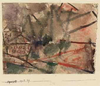 Paul Klee-Aquarell (Kleines Haus Unter Unfertigen Großen)-1913