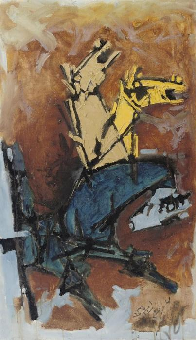 Maqbool Fida Husain-Untitled (Horses)-