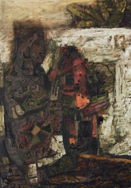 Maqbool Fida Husain-Untitled (Mehndi)-1962