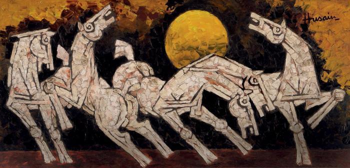 Maqbool Fida Husain-Untitled (Horses)-2010