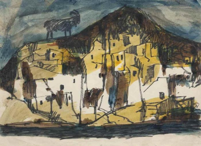 Maqbool Fida Husain-Untitled (Village with Goat)-1960