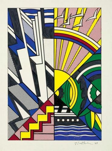 Roy Lichtenstein-Collage for New York State Mural (Town and Country)-1968