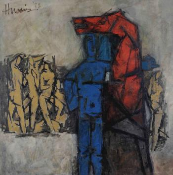 Maqbool Fida Husain-Cinq Sens-1958