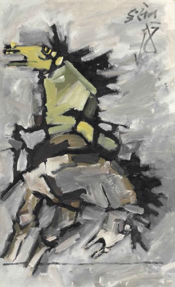 Maqbool Fida Husain-Untitled (Grey Horses)-