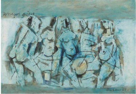 Maqbool Fida Husain-Untitled (Figures in Blue)-1969