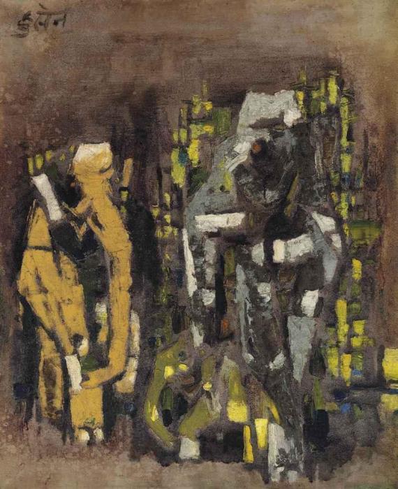 Maqbool Fida Husain-Untitled (Elephant Family)-1960
