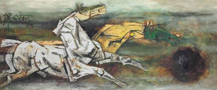 Maqbool Fida Husain-Untitled (Horses)-1965