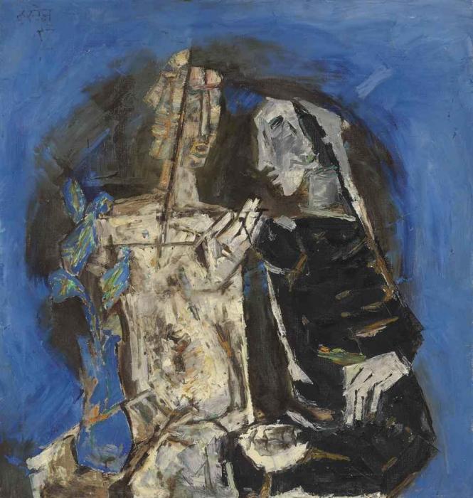 Maqbool Fida Husain-Untitled (Two Figures with Cactus)-1966