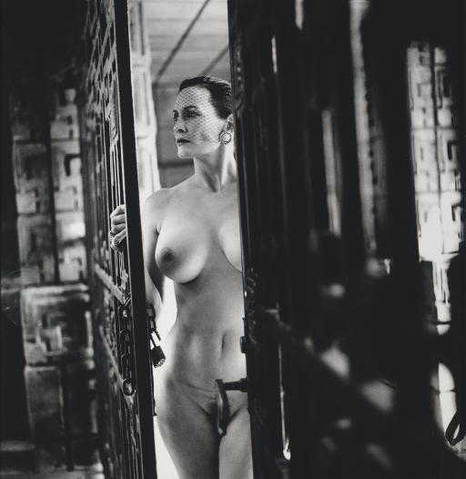 Helmut Newton-Woman Entering Ennis-brown House By Frank Lloyd Wright, Los Angeles, 1990 (1940)-1990