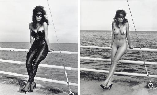 Helmut Newton-At the Sea; Nude, Masked, at the Sea, Monte Carlo-1981