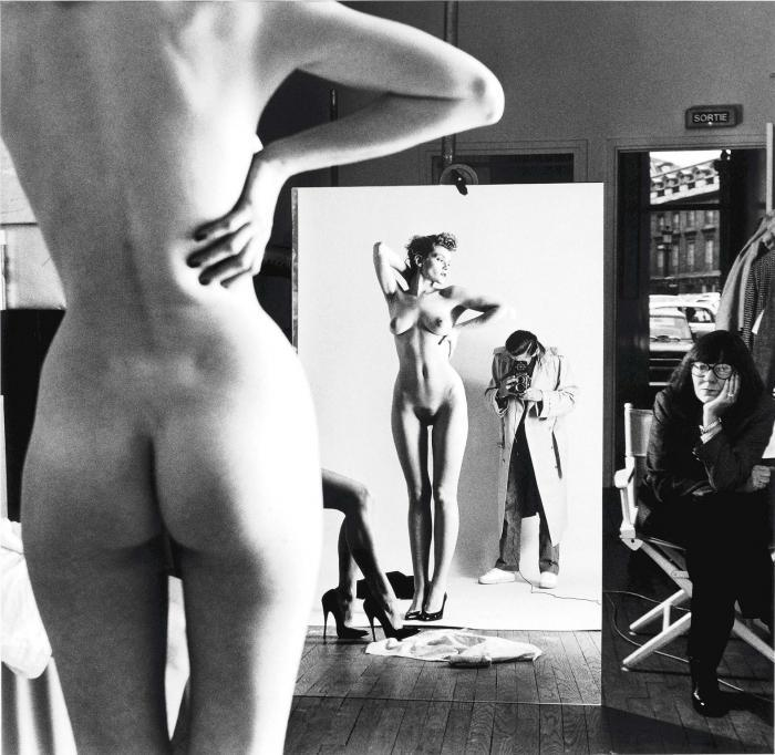 Helmut Newton-Self-Portrait with Wife and Models, 'Vogue' Studios, Paris-1981