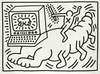 Keith Haring-Keith Haring - Untitled (The Worm)-1984