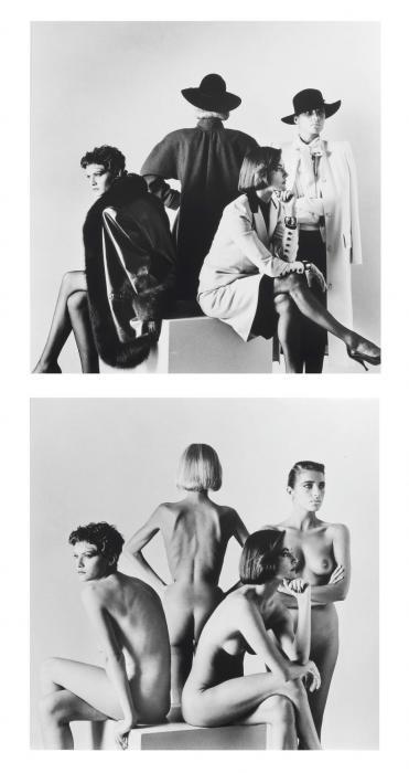 Helmut Newton-(Naked and Dressed) Fashion Models Sitting, Paris-1981