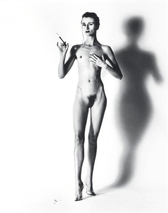 Helmut Newton-Violetta with Monocle -- Big Nude IX, Paris-1991