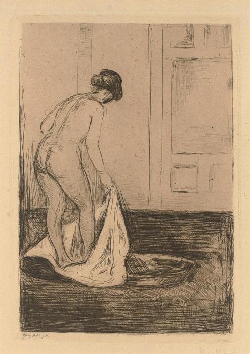 Edvard Munch-Badendes Madchen / Girl Bathing / Kvinne som bader seg / Woman Taking a Bath (Sch. 158; W. 180)-1902