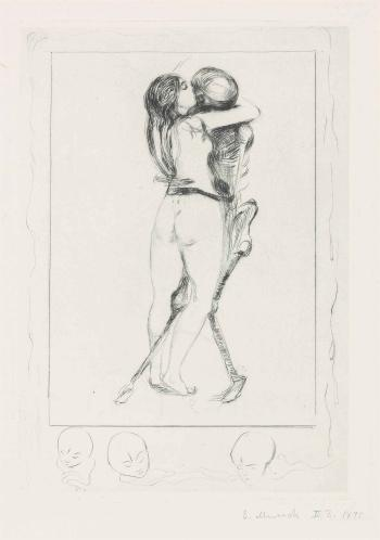 Edvard Munch-Death and the Woman (Sch., W. 3)-1894