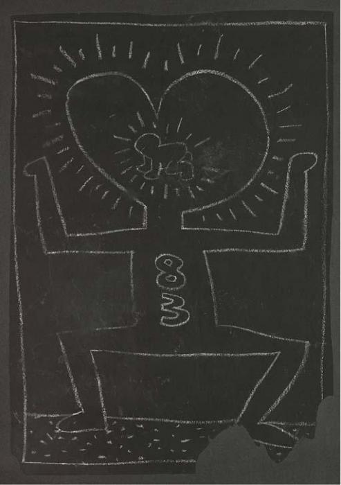 Keith Haring-Keith Haring - Subway Drawing-1983