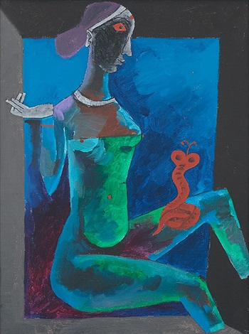 Maqbool Fida Husain-Cobra Girl-