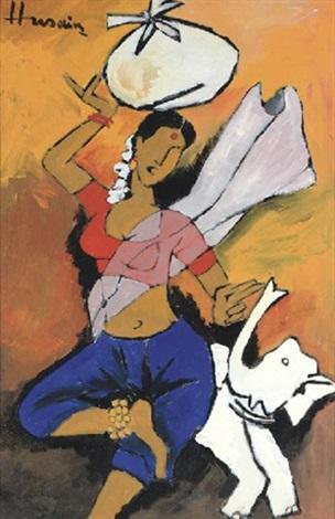 Maqbool Fida Husain-Untitled - woman and elephant-