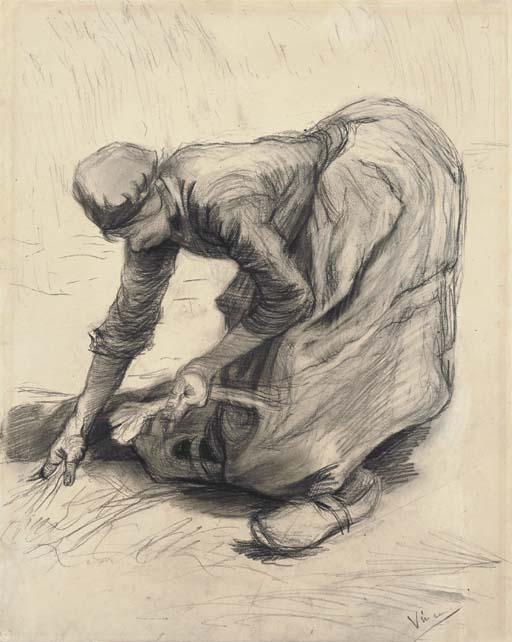 Vincent van Gogh-Paysanne glanant-1885