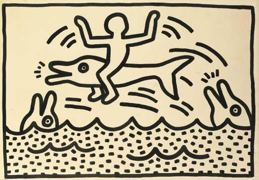 Keith Haring-Keith Haring - Untitled - Man on a Dolphin-1983