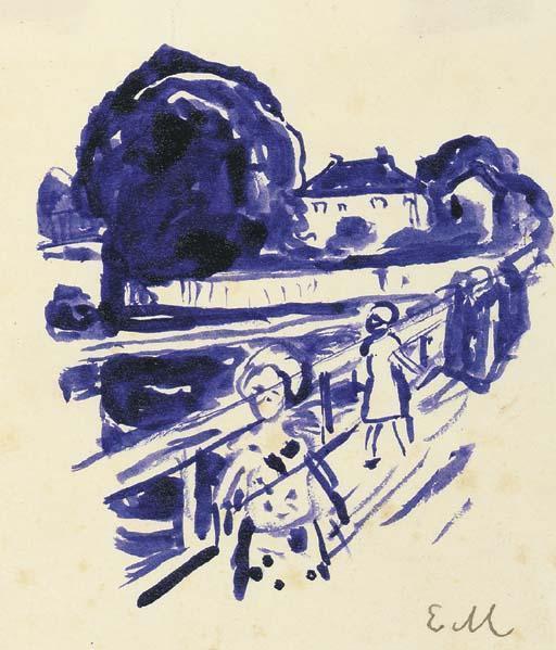 Edvard Munch-On the Bridge-1925