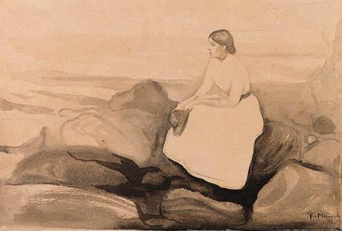 Edvard Munch-Inger pa Stranden (Inger on the Beach)-1889