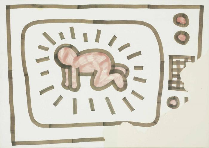 Keith Haring-Keith Haring - Untitled (Radiant Baby Inside TV)-1981