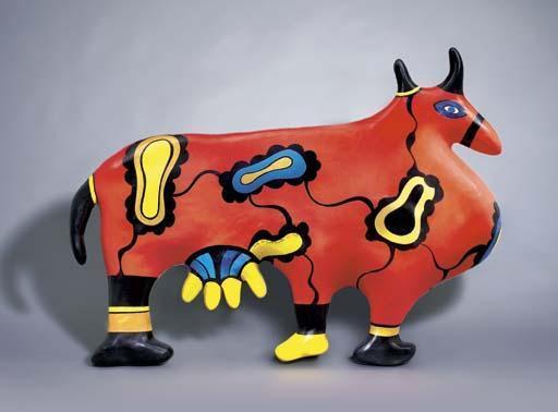 Niki de Saint Phalle-Swiss Cow, Red (Remembering)-1998