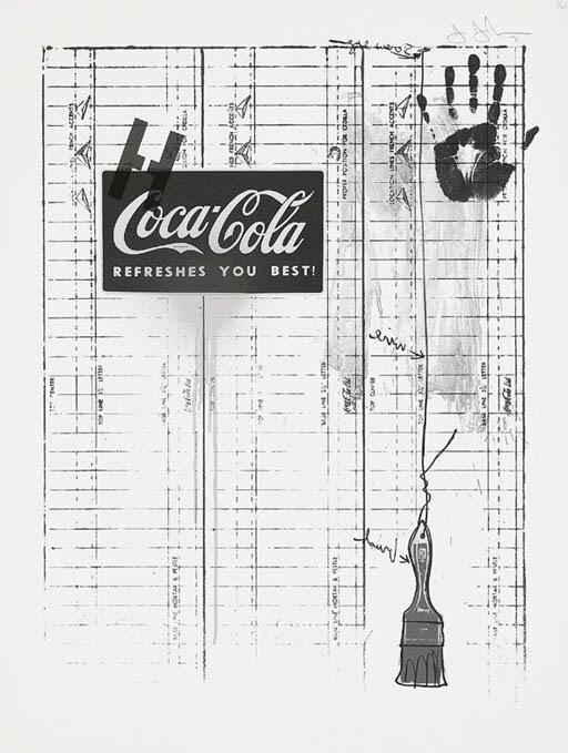 Jasper Johns-Untitled (Coca-Cola and Grid) (ULAE 99; G. 294)-1971