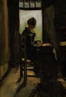Vincent van Gogh-Vrouw Zittend voor een Geopende Deur, Aardappels Schillend-1885