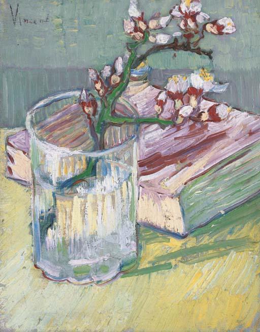 Vincent van Gogh-Nature morte, branche d'amandier-1888
