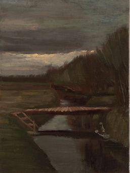 Vincent van Gogh-Sloot en kleine brug-1883