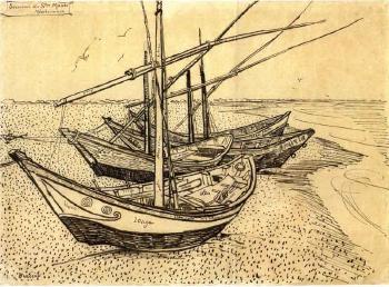 Vincent van Gogh-Bateaux de peches sur la plage a Sainte-Maries-de-la-Mer-1888