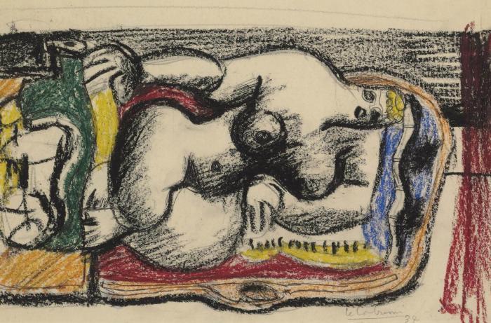 Le Corbusier-Femme nue sur un canape avec bouteille verte-1934