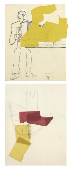 Le Corbusier-Joueur d'accordeon; Esquisse de la main ouverte-1959