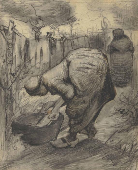 Vincent van Gogh-Paysanne au bassin dans un jardin-1885