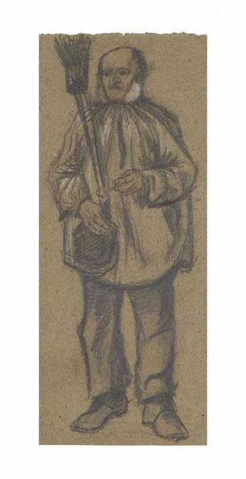 Vincent van Gogh-Orphan Man, Wearing a Blouse, with Broom and Pipe-1882