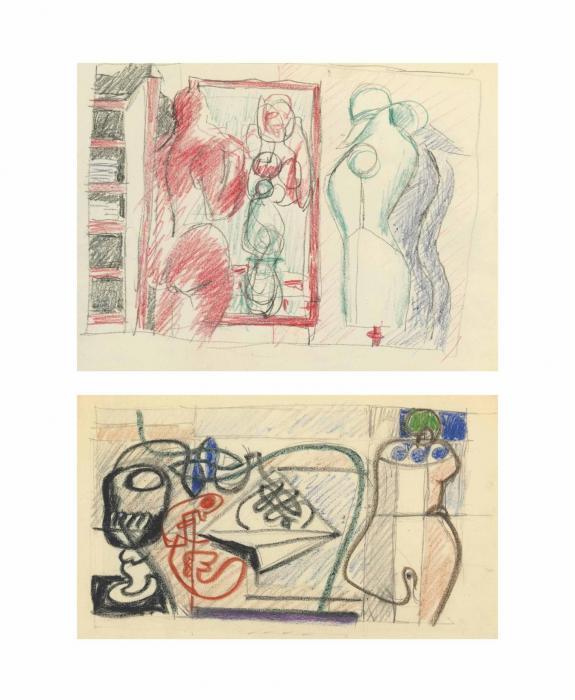 Le Corbusier-Nature morte; Croquis de nu feminin et mannequin-1932