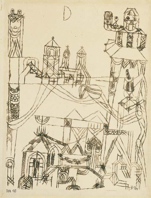 Paul Klee-Tempel Zum Halben Mond (Temple Of The Half Moon)-1918