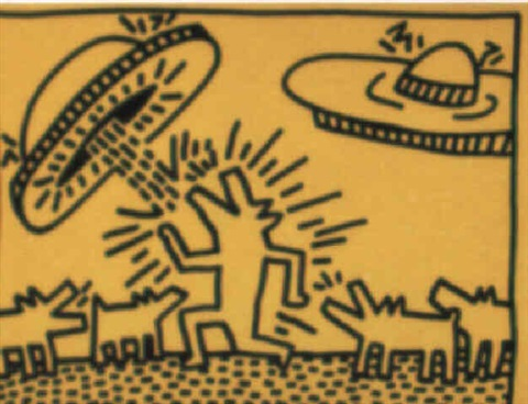 Keith Haring-Keith Haring - Barking Dogs and Flying Saucers-
