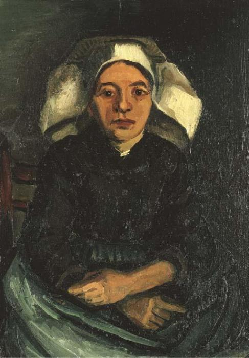 Vincent van Gogh-Peasant Woman, half Figure, sitting-1885