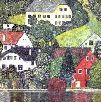 Gustav Klimt-Houses at Unterach on the Attersee-1916