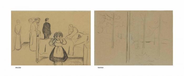 Edvard Munch-Dooden og barnet (Death and the Child) / Skog (Forest)-1899